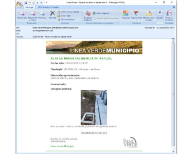app pantalla incidencias Línea Verde