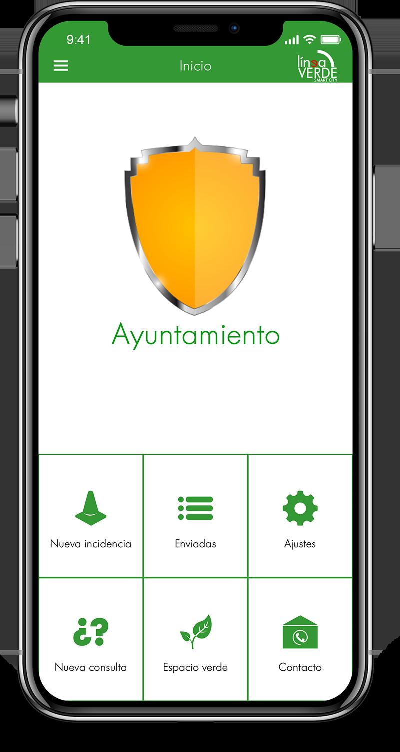 app pantalla principal ayuntamiento Línea Verde