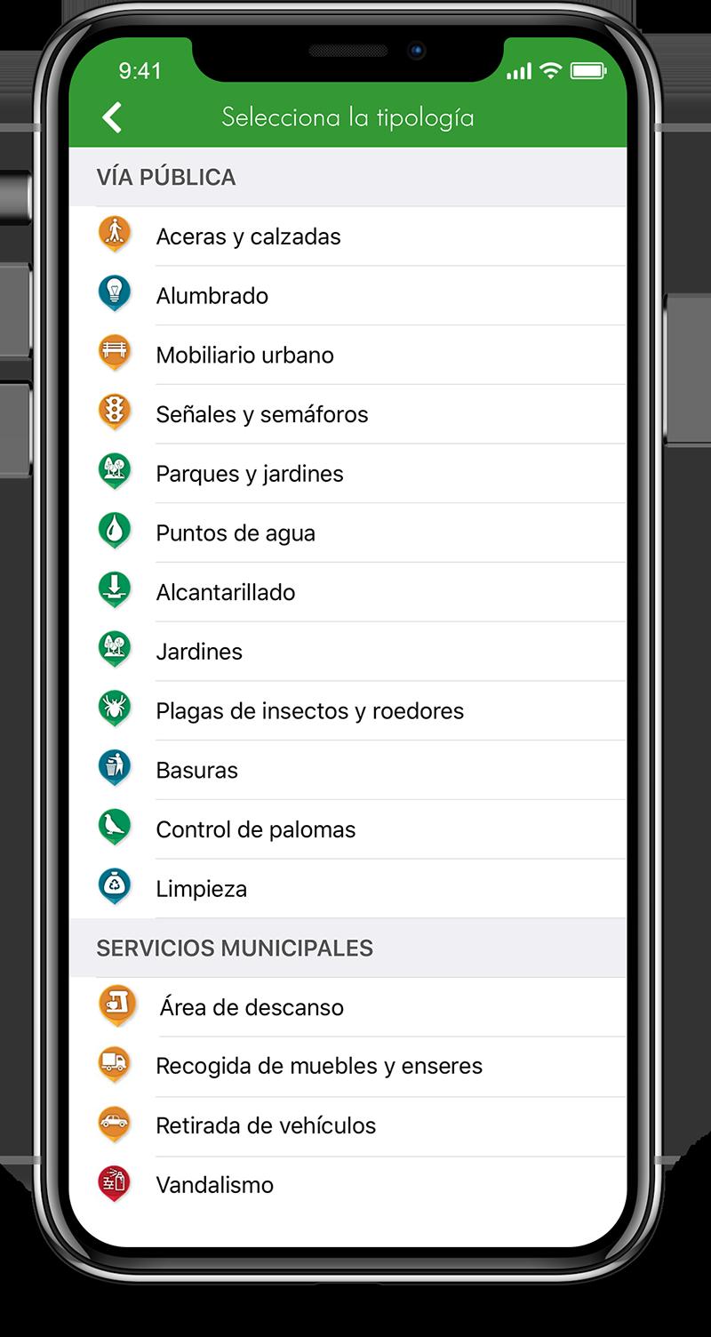 app pantalla selecciona tipología Línea Verde